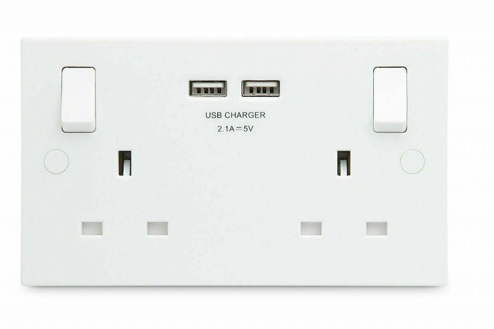 DOUBLE ELECTRICAL WALL SOCKETS MAINS USB CHARGING PORTS 2.1A DUAL 5V WHITE MOULD